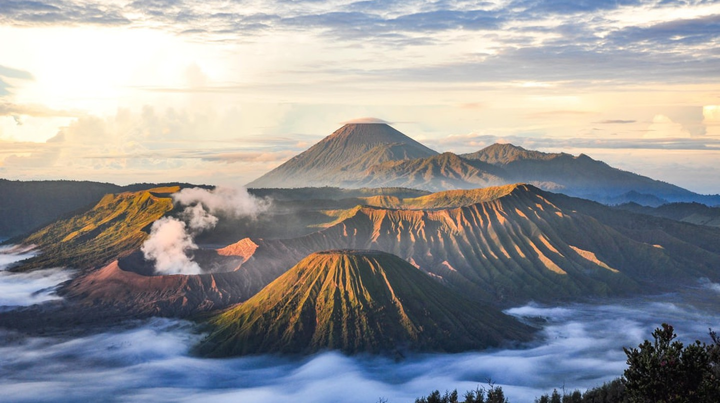 Mount Bromo volcano (Gunung Bromo) during sunrise, seen from Mount Penanjakan