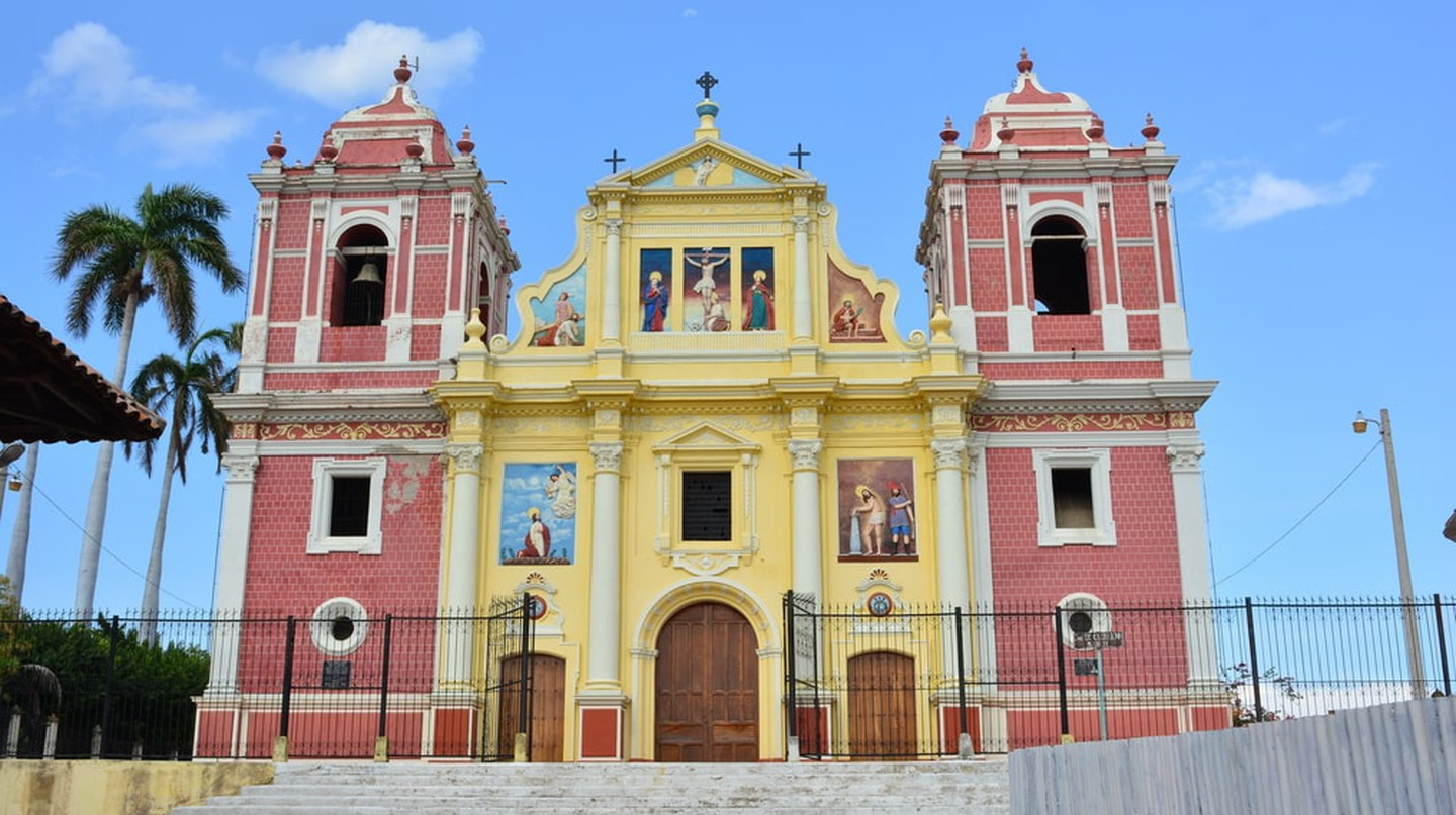 Colonial Calvario church in the historical city of Leon, Nicaragua