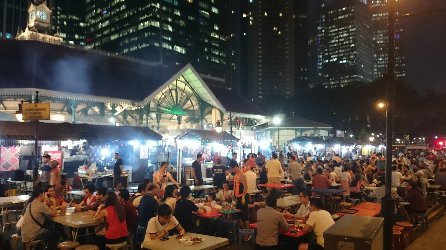Lau Pa Sat hawker centre is popular with tourists and locals