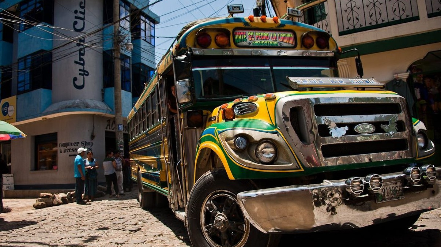 Chicken bus in San Pedro La Laguna, Guatemala