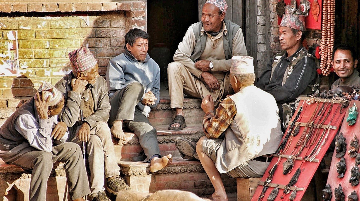 Nepali men having a chat