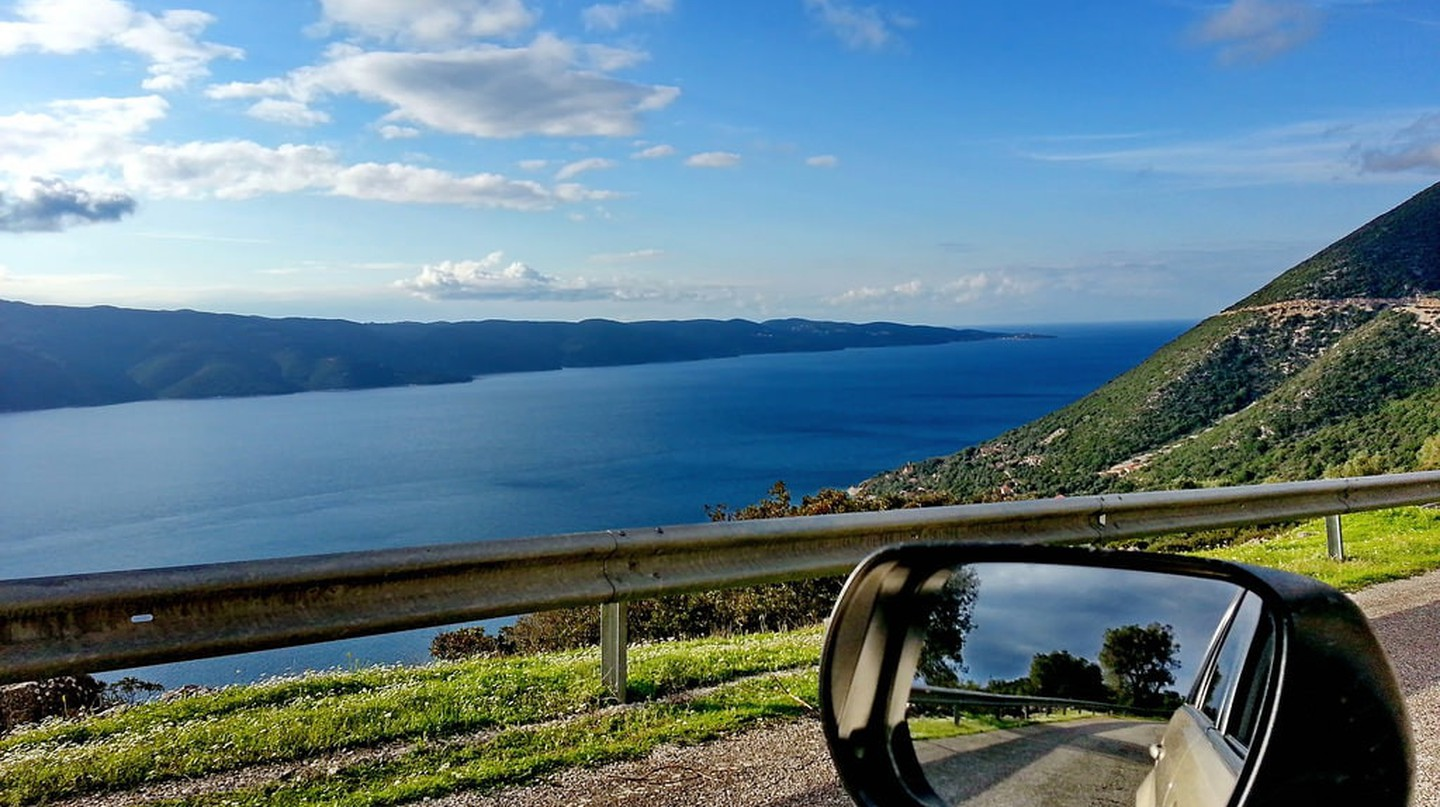 View of the Ionian sea on the road, Ithaki, Greece