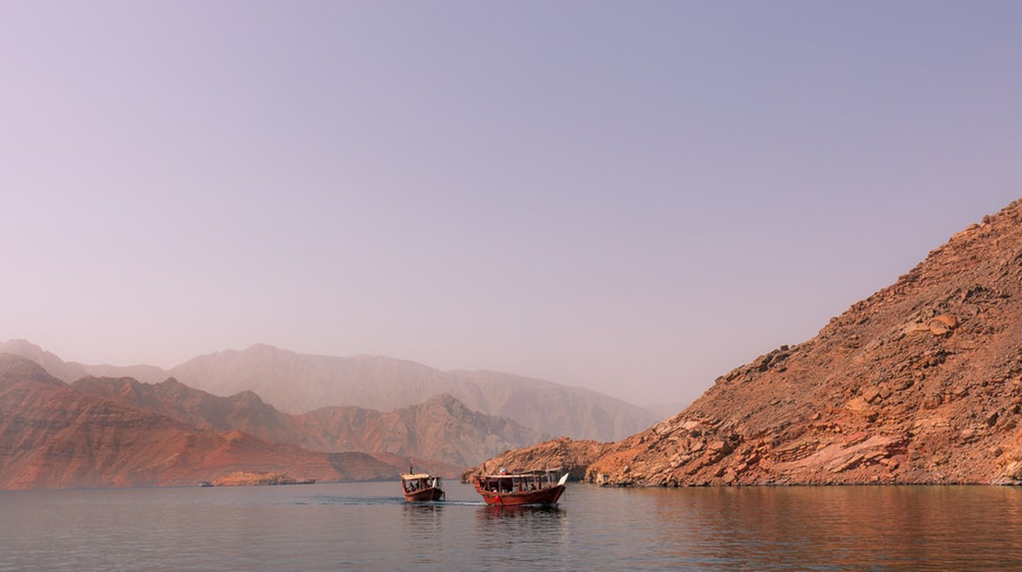 Oman's Musandam Peninsula is known for its stunning mountainous landscape