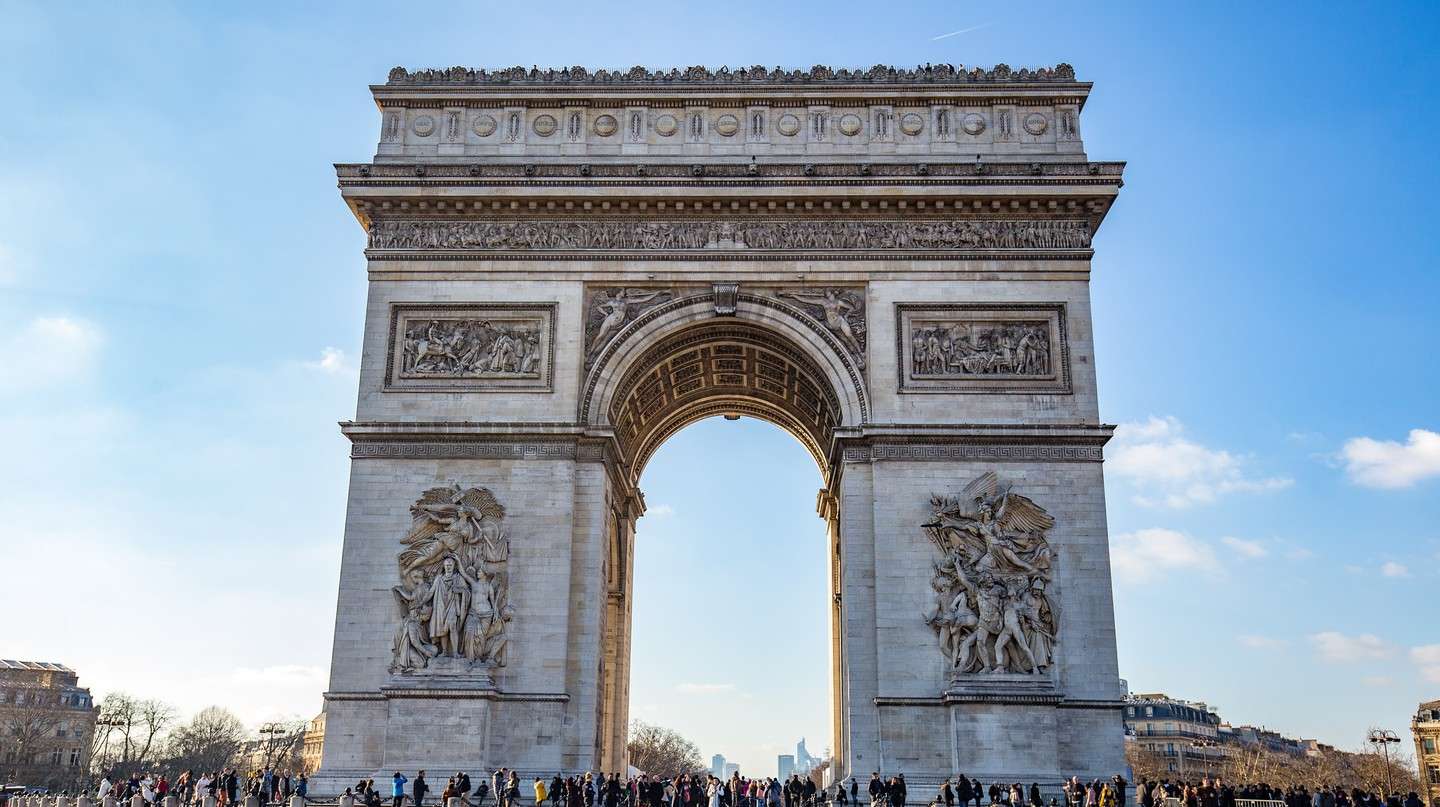 The imposing Arc de Triomphe in Paris