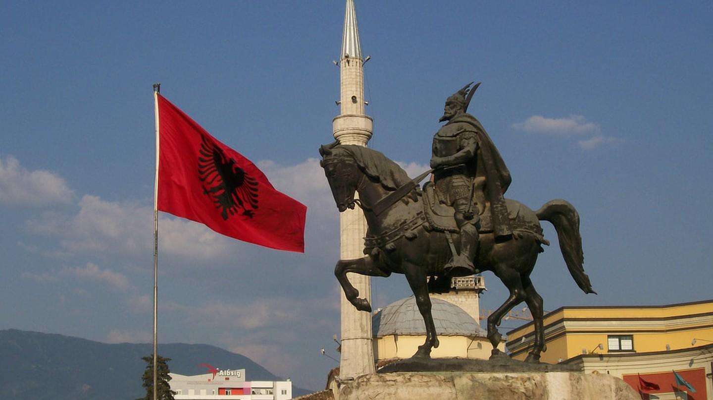 The statue of George Kastriota Skanderbeg in Skanderbeg Square, Tirana