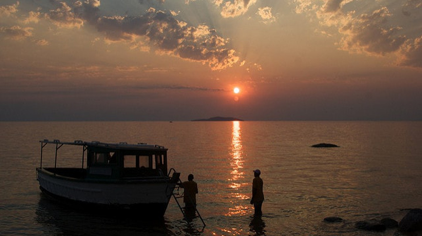 Fishermen at sunset on Lake Malawi