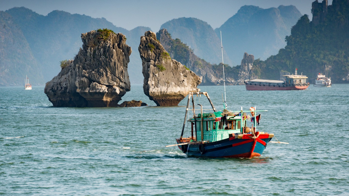 Fishing boat in Ha Long Bay, Vietnam