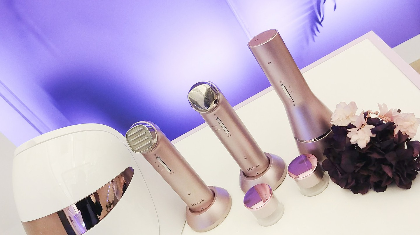 Beauty gadgets by Korean brand LG Pra.L, on display at a cosmetics event in Seoul