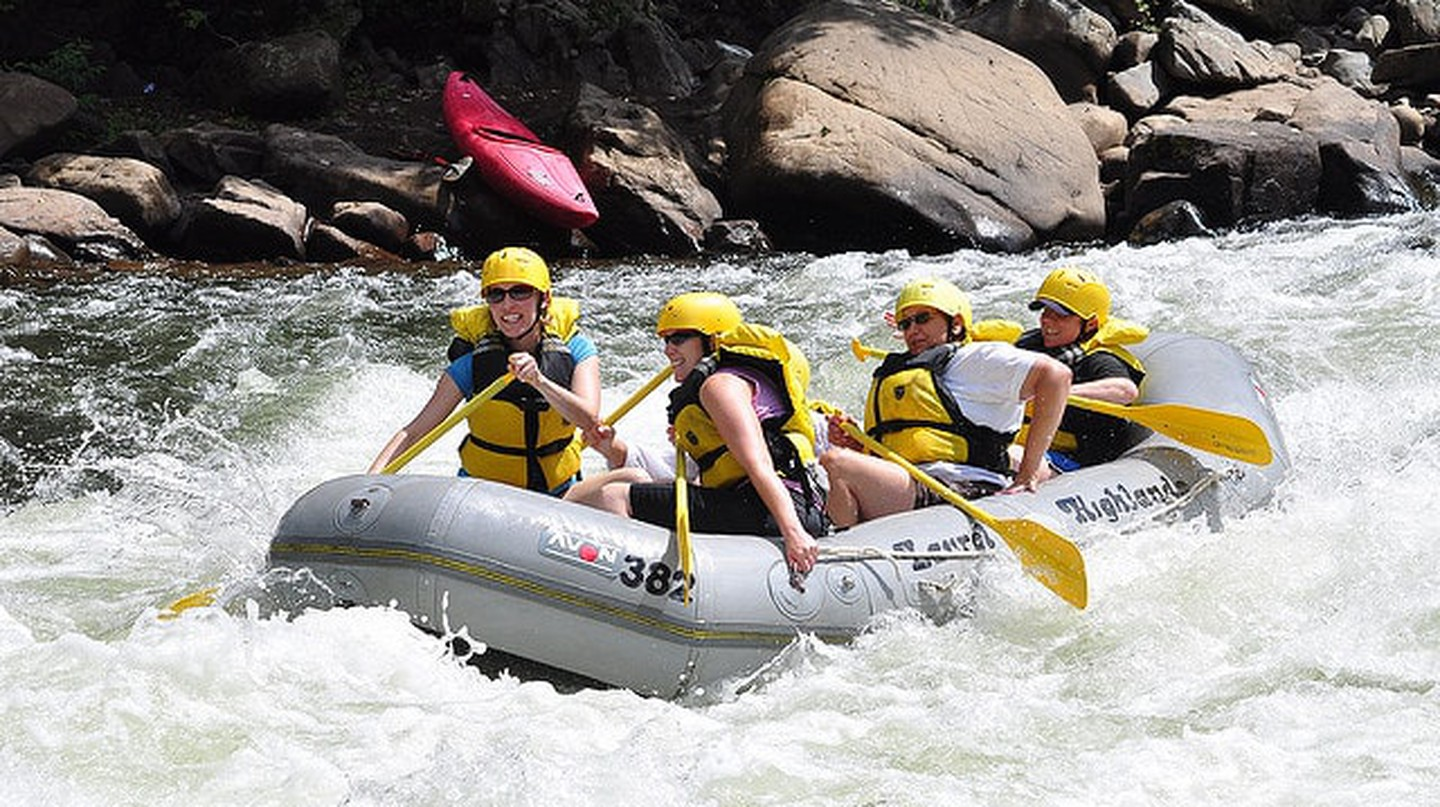 White water rafting in Zambia takes place on the Zambezi River
