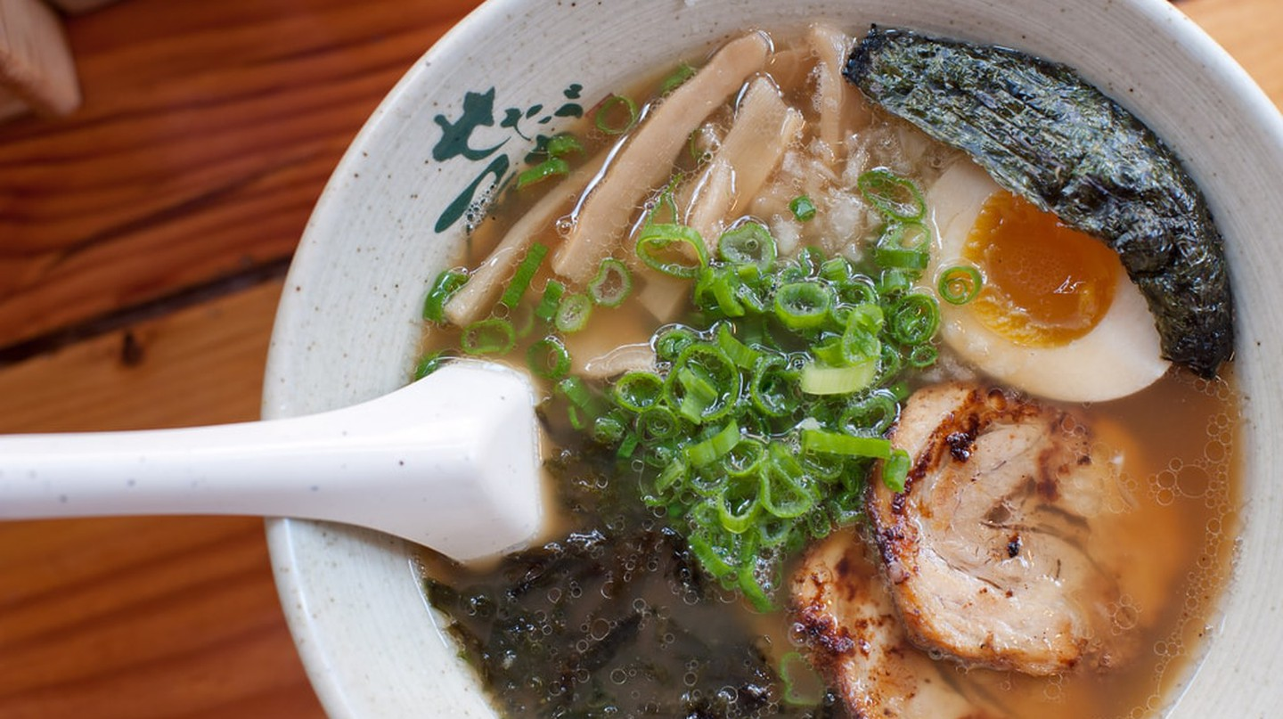 Choose from Shio, Tonkotsu, or Veggie Miso broth at Ramen-San.