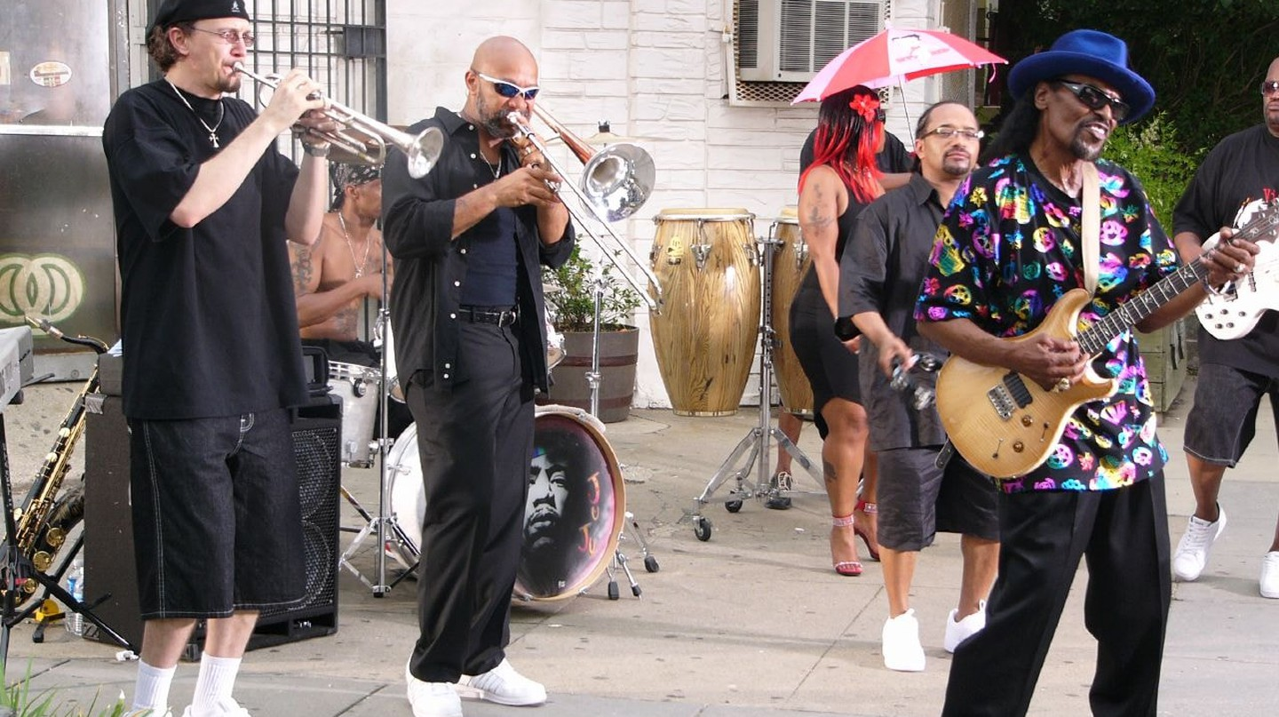"Chuck Brown in 2007 recording his music video for ""Block Party"""