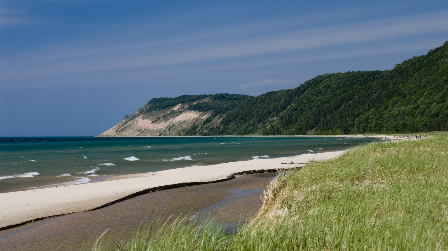 The sand dunes of Sleeping Bear viewed from Esch Road Beach