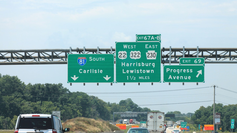 I-81 approaching Harrisburg, PA