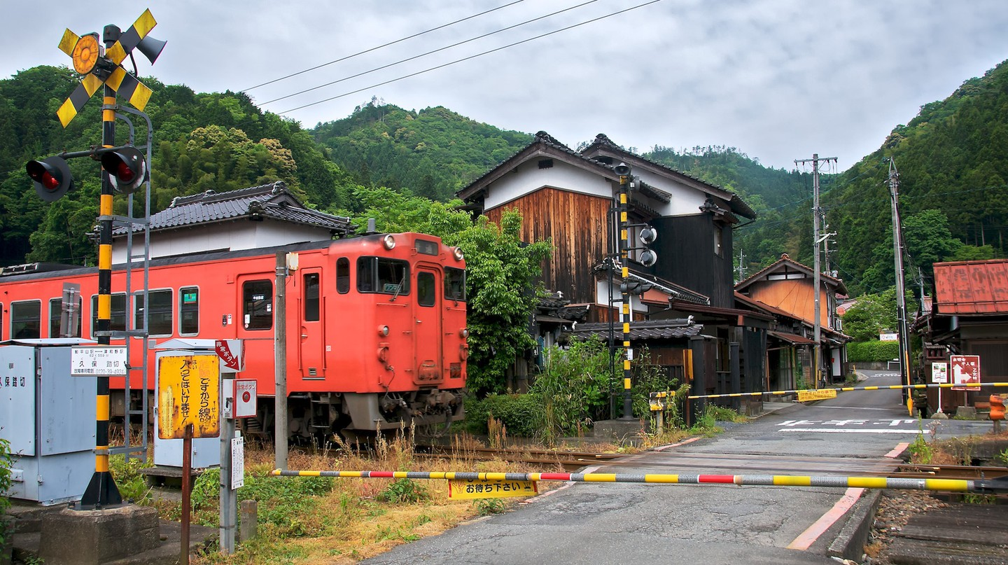 Railway crossing in Tsuwano, Japan