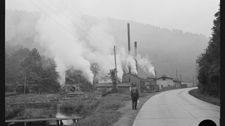 A man walking in West Virginia in 1938