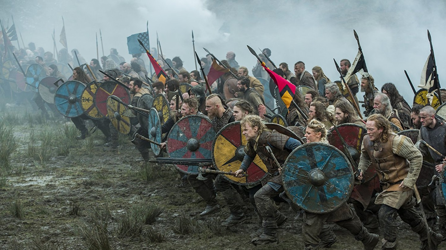 A Viking battle as depicted in History Channel's Vikings