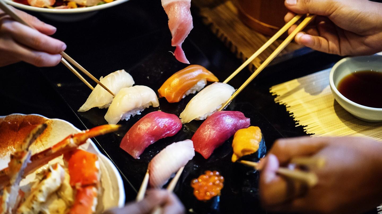 Sharing a sushi platter