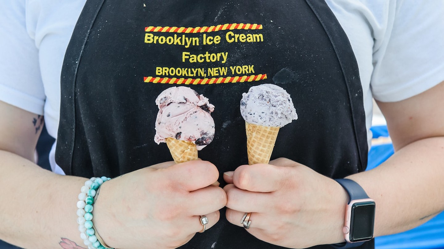 Two cones from the Brooklyn Ice Cream Factory