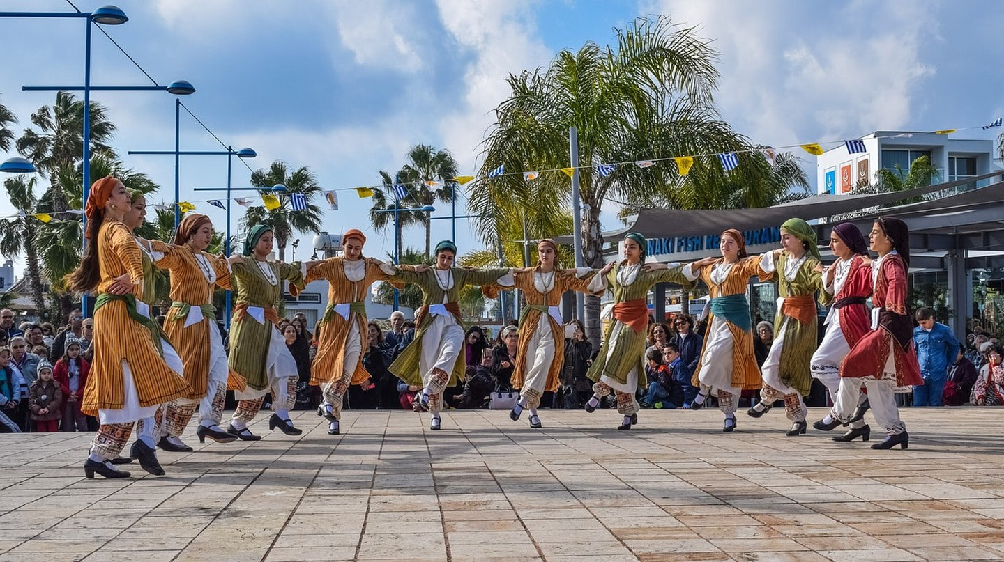 Girls dressed in traditional Cypriot costumes at a festival