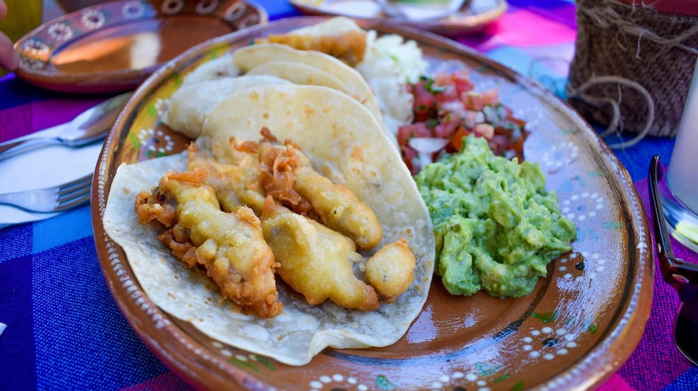 Delicious fish tacos at Claudia's Restaurant, Loreto