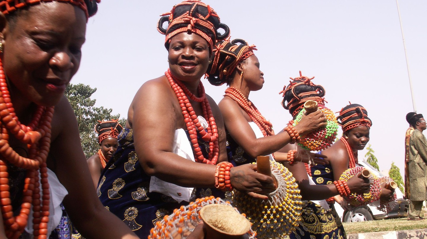 Female Benin palace dancers