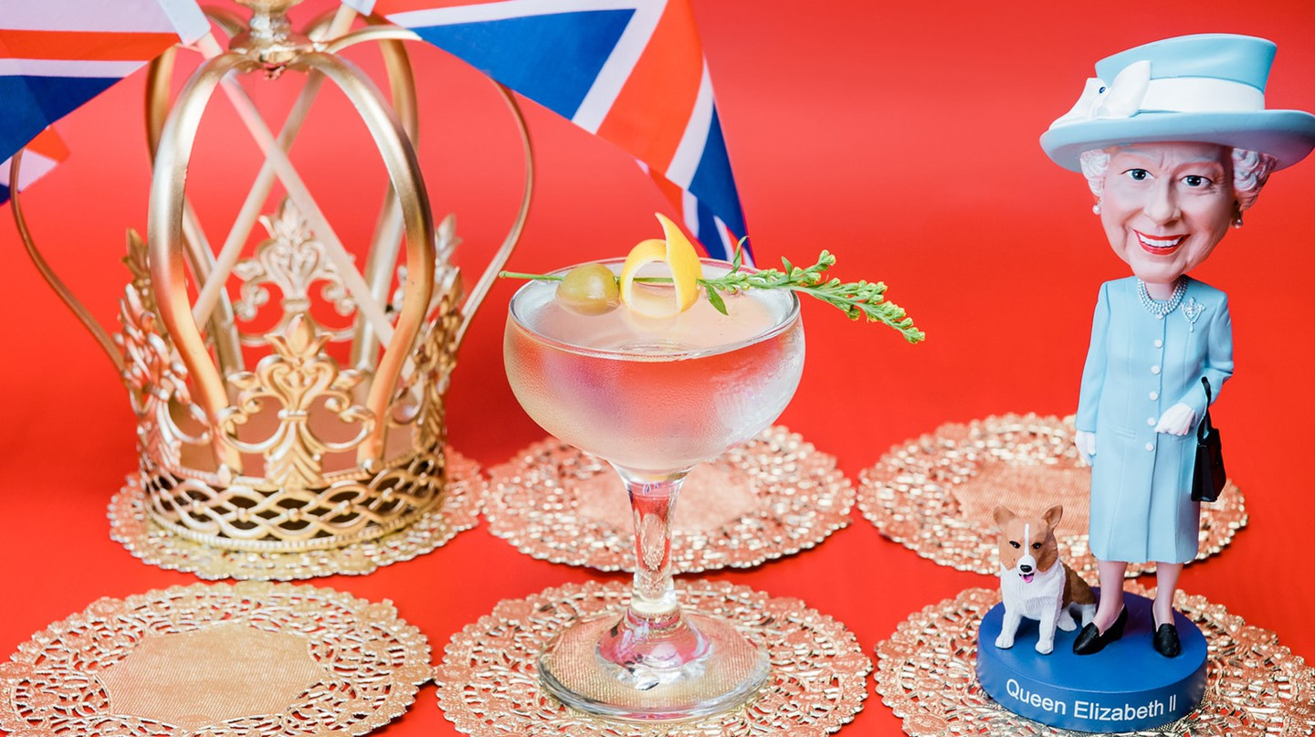 The God Save the Queen Martini comes with a souvenir crown