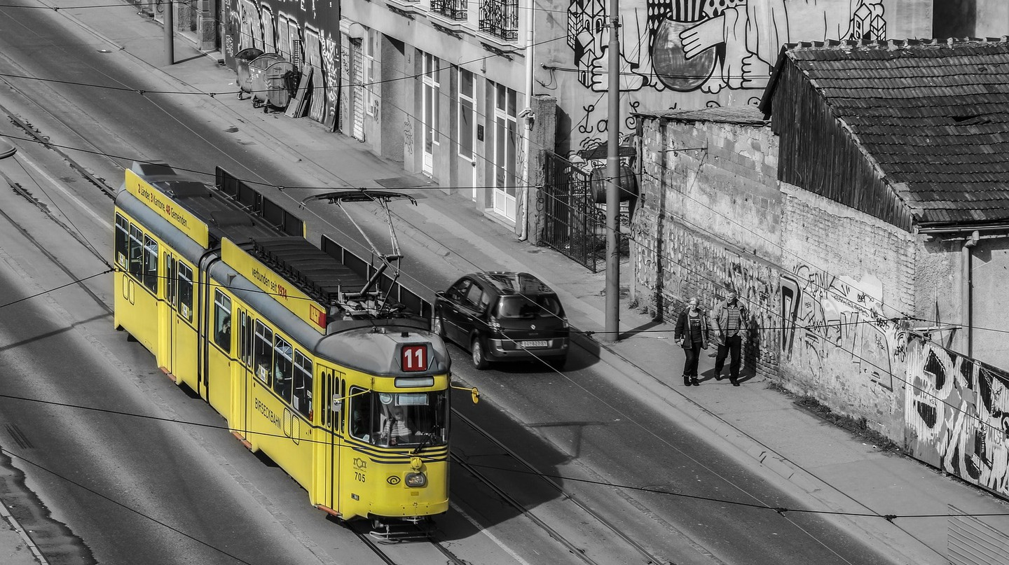 A lonely trolley trundles through Belgrade