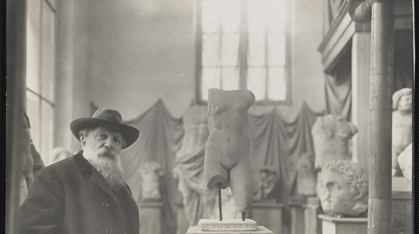 Rodin in his Museum of Antiquities at Meudon on the outskirts of Paris, about 1910 Photo: Albert Harlingue.