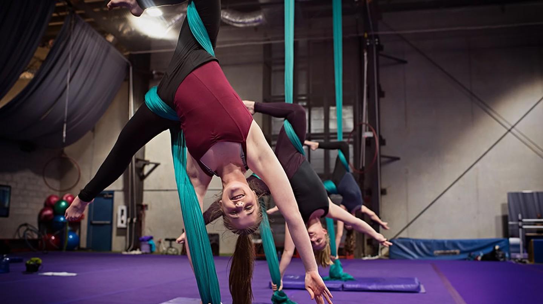 Aerial yoga class at Orlando Aerial Arts