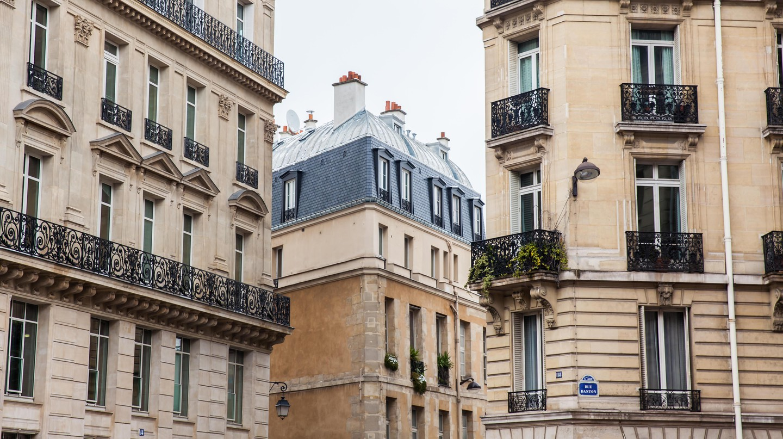 Antique buildings at Danton street in Paris, France