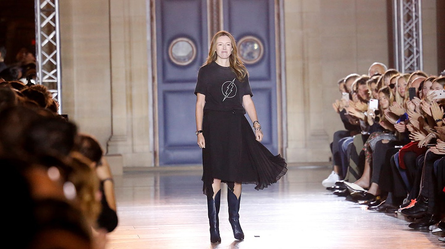 Clare Waight Keller on the catwalk at Paris Fashion Week SS18