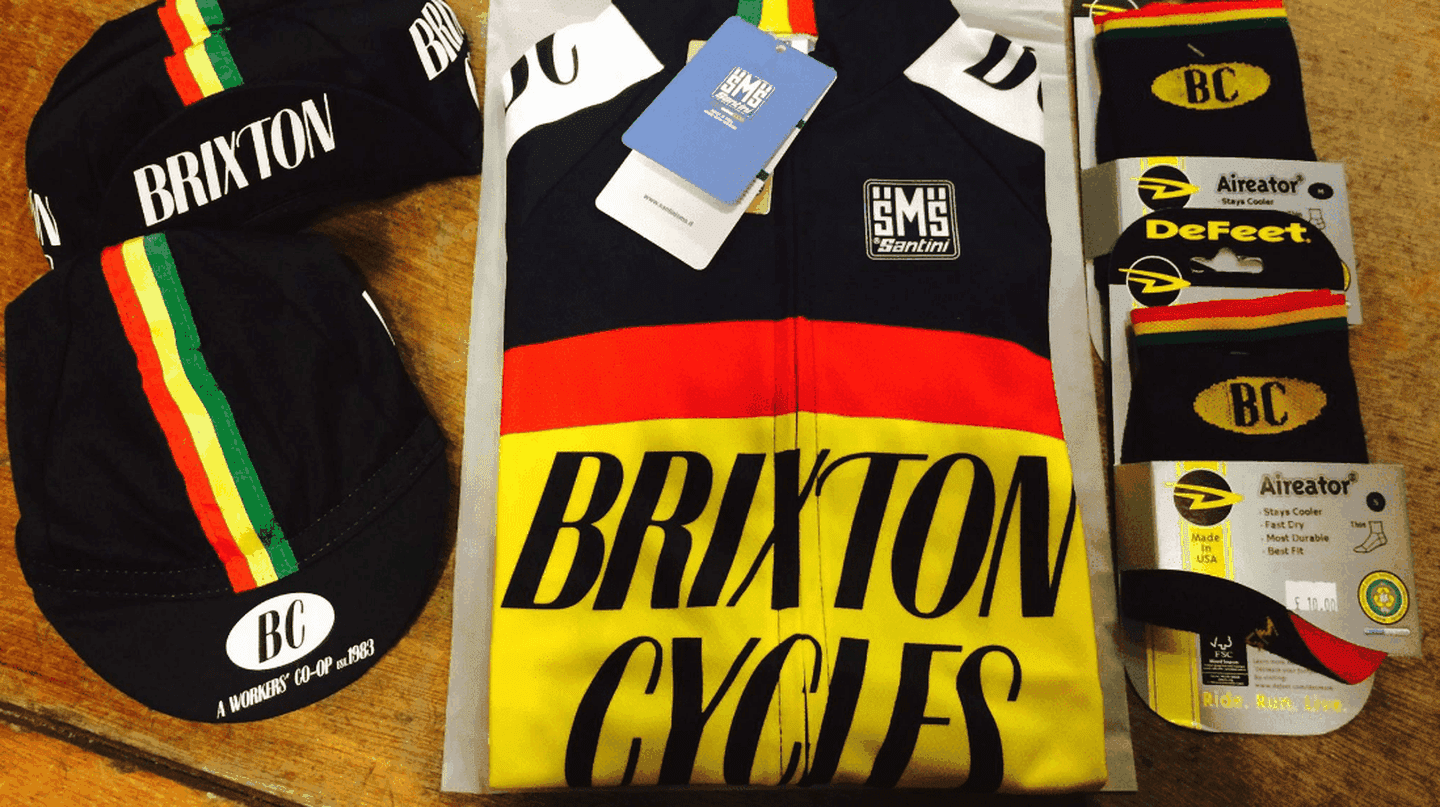 Brixton Cycles merchandise.