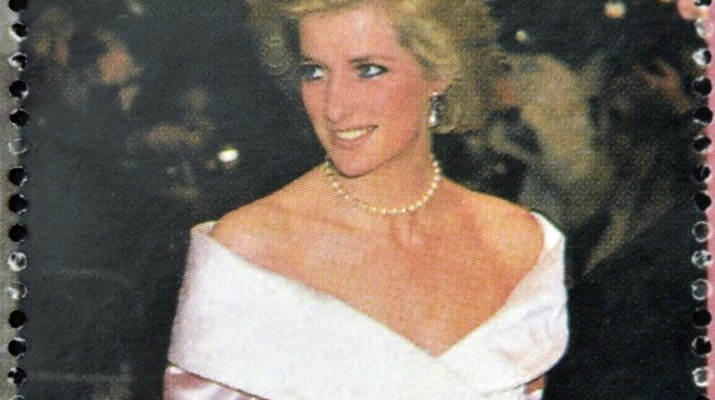 A stamp printed in Burkina Faso shows Diana of Wales