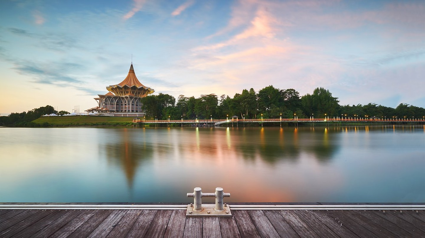 View of the legislative building from Kuching Waterfront