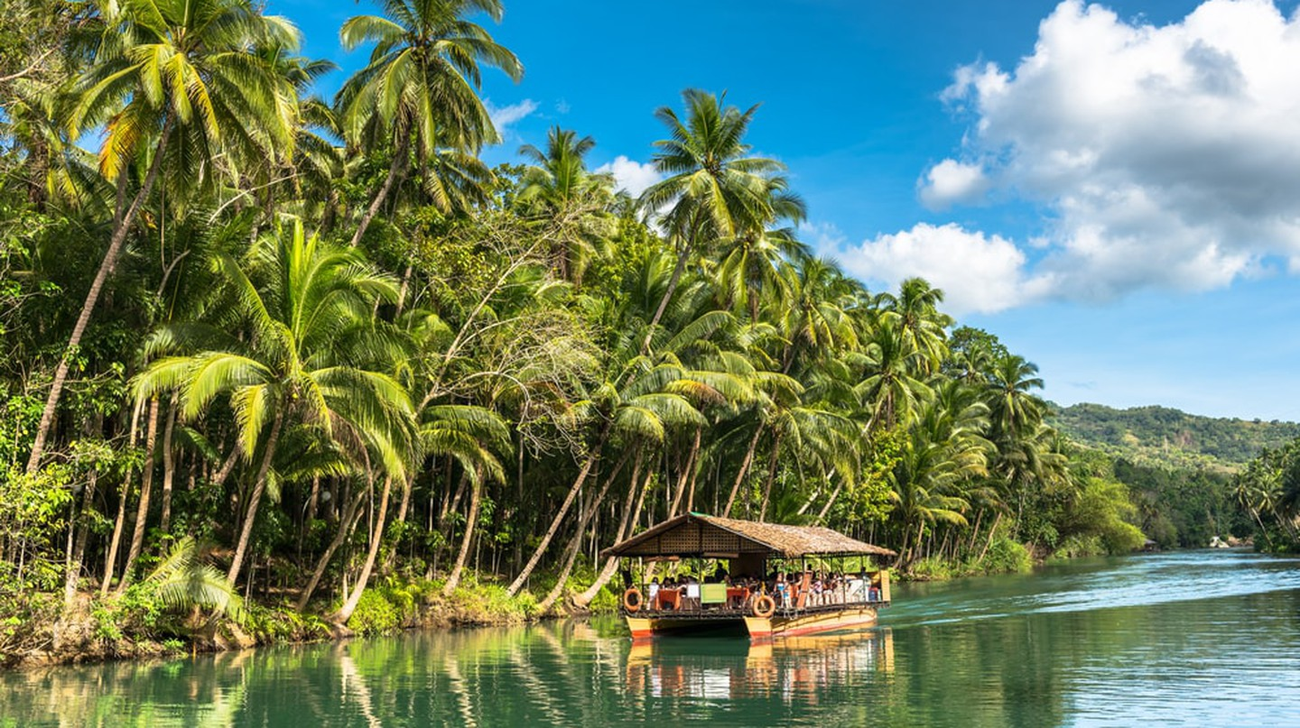 Traditional raft boat, Loboc at Bohol Island, Philippines