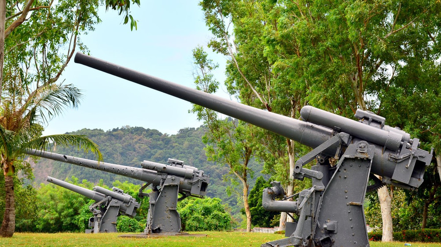 Japanese Garden of peace anti-aircraft cannon in Corregidor Island, Cavite, Philippines