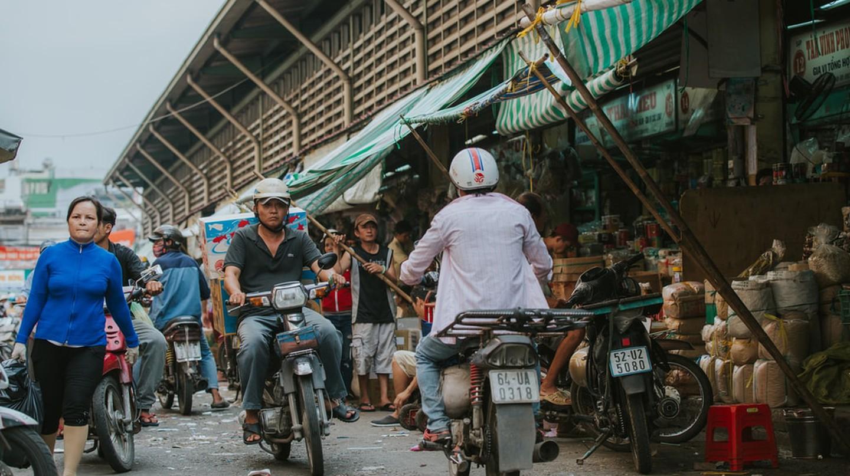 People on the streets of Saigon, Vietnam