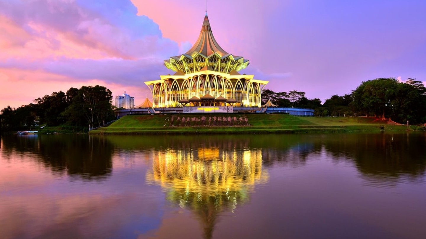 One of Kuching's iconic buildings by the Sarawak River