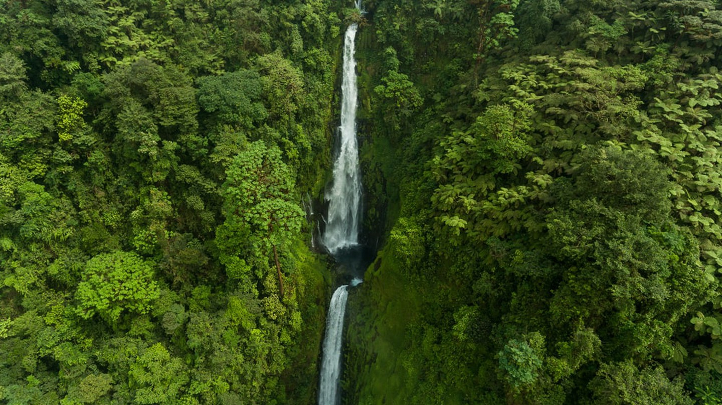 Aerial View of Waterfall in Equatorial Guinea