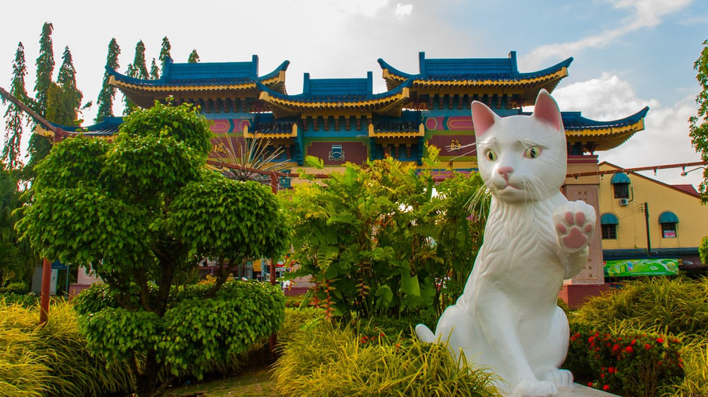 One of the cat statues in Sarawak's Cat City