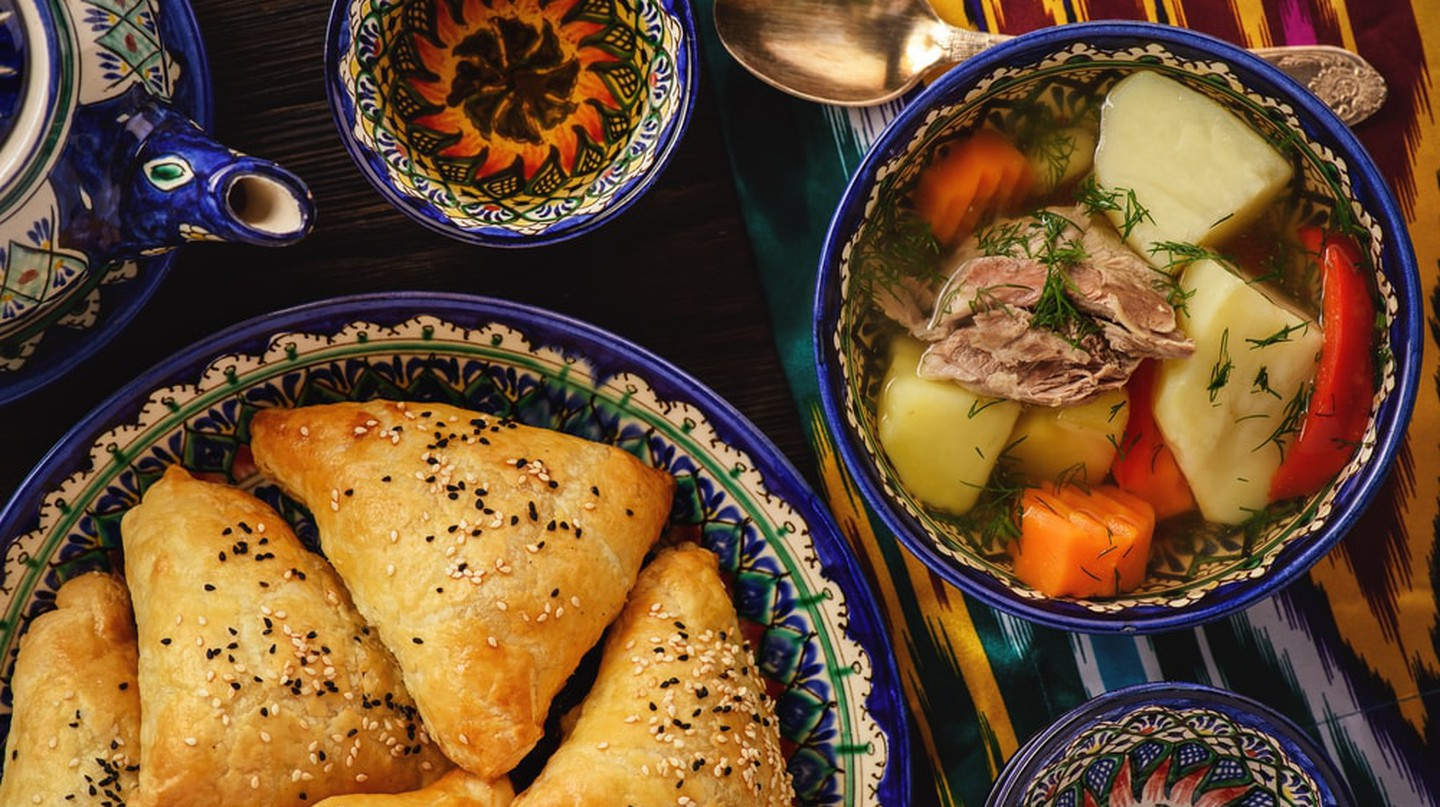 Soup with lamb and vegetables, Uzbek-style cuisine