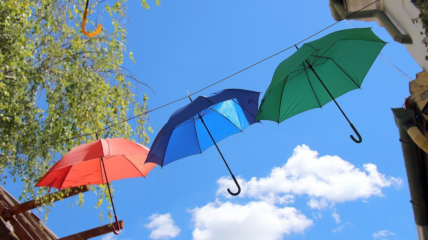 The iconic colourful umbrellas that hang in the centre of Szentendre
