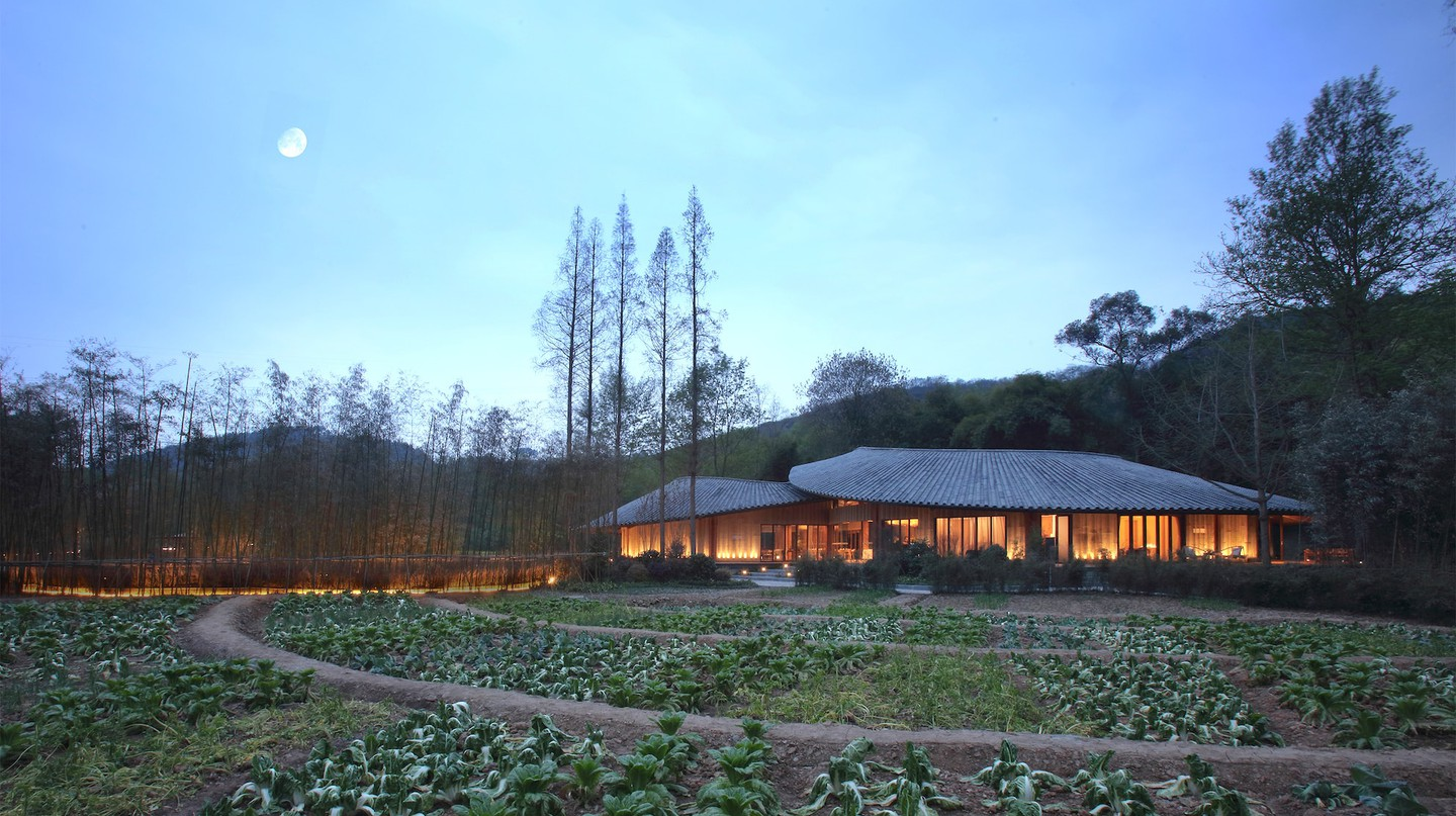 The bamboo roof was designed by Philip F Yuan