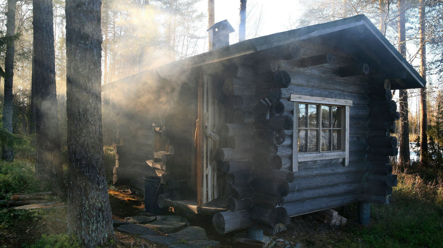 A traditional smoke sauna in Finland