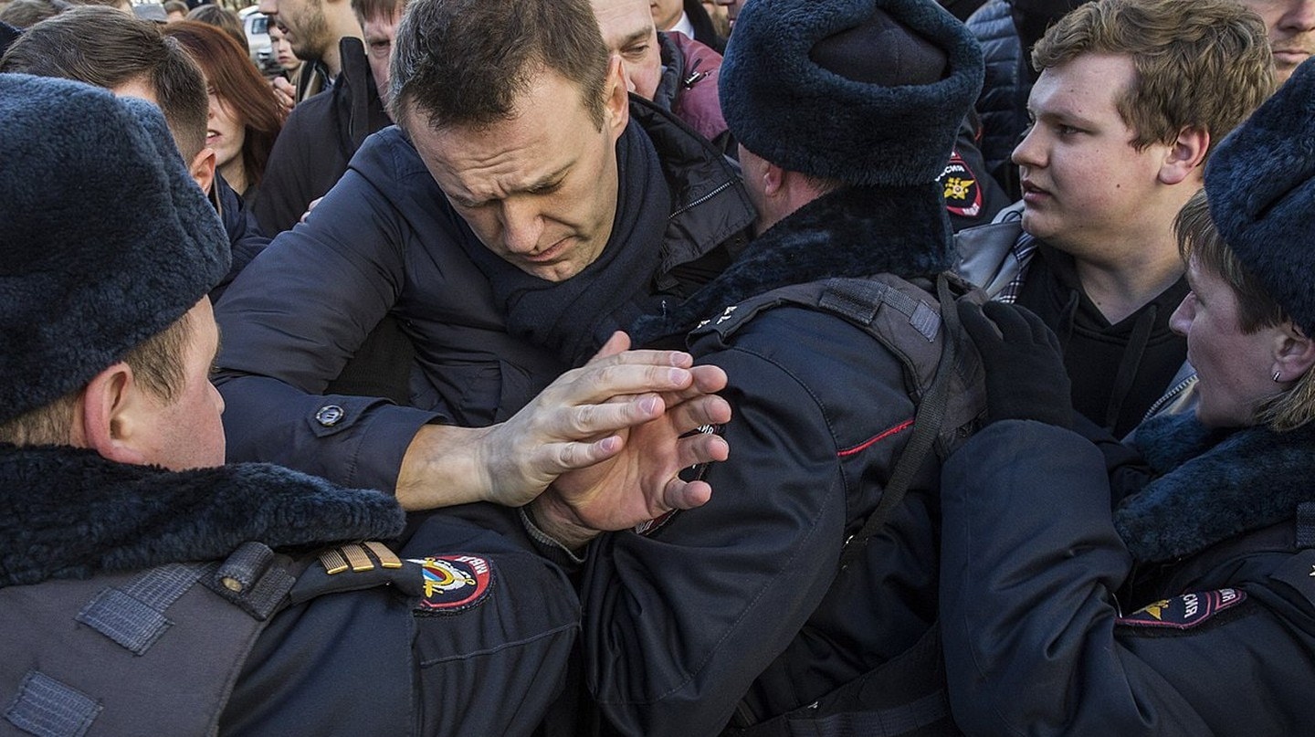 One of the most prominent leaders of the anti-Putin opposition, Alexei Navalny, during a protest in Moscow in March 2017.