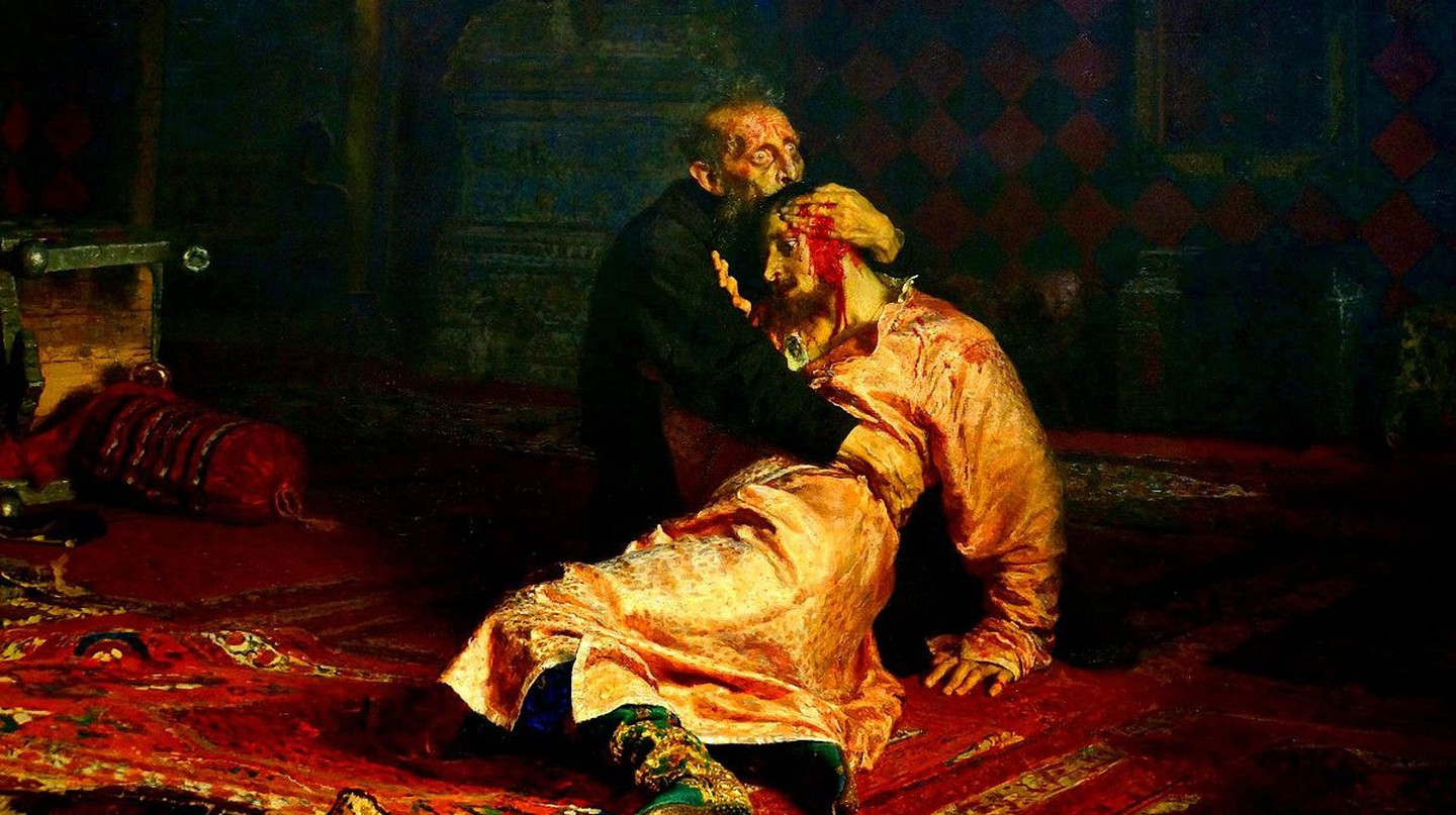 Ivan the Terrible with his son. Painted by I. Repin