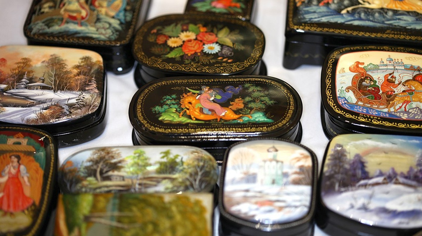 A selection of lacquer boxes in a shop