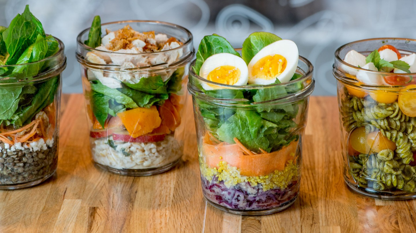 Salads at Ancolie come layered in custom-made glass jars
