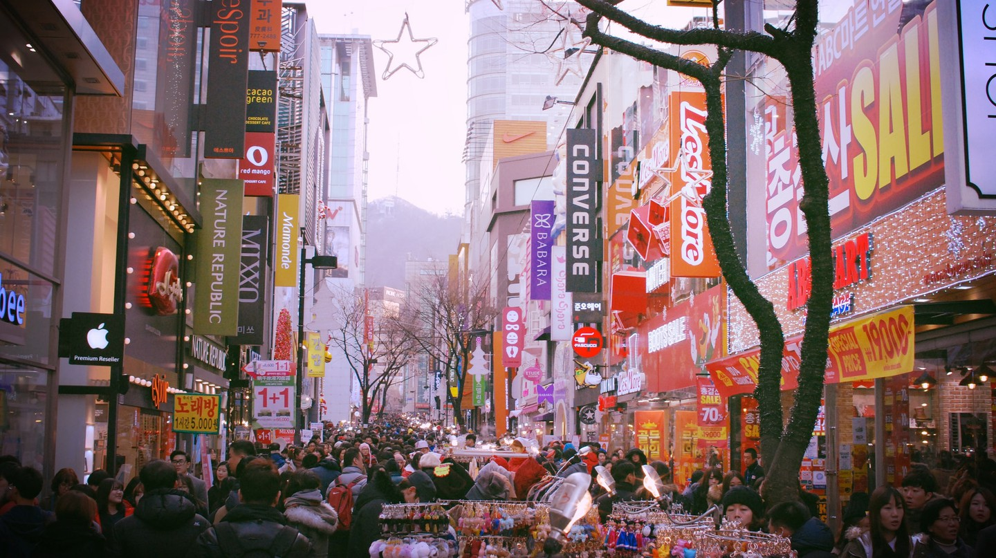 Myeongdong in Seoul is famous for its many beauty shops