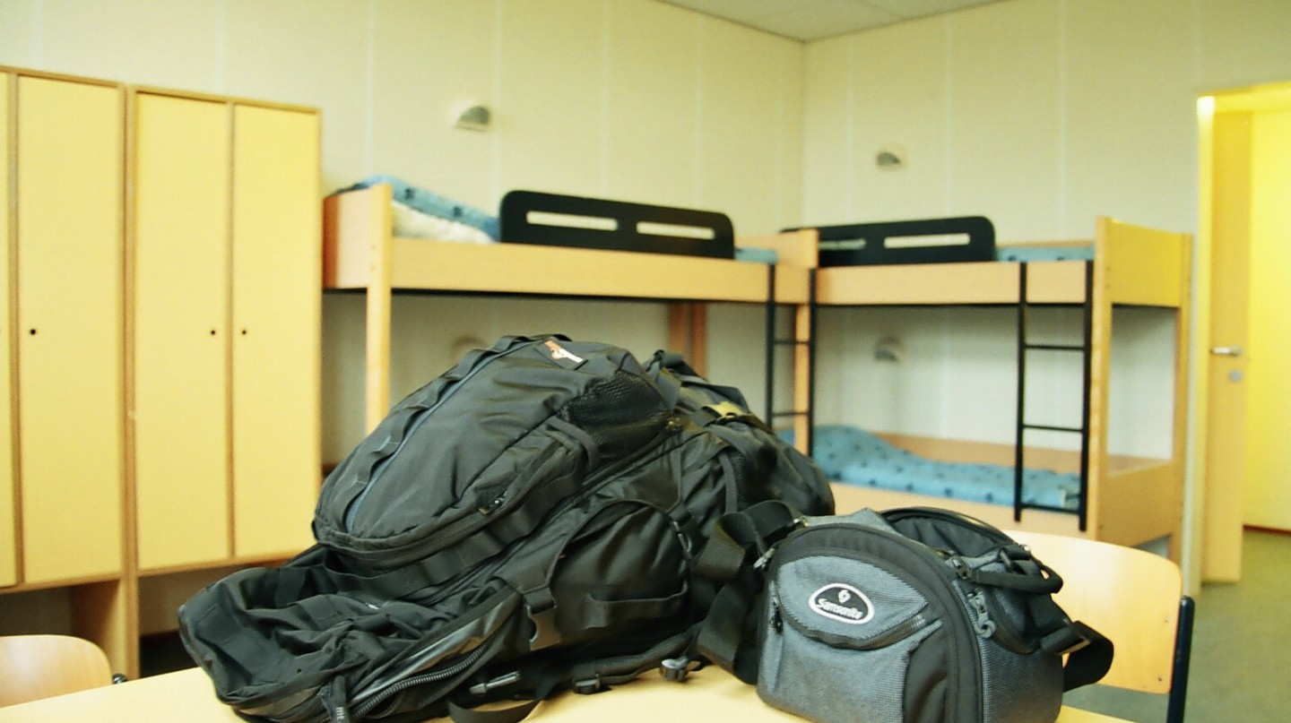 A backpacker's hostel complete with backpack